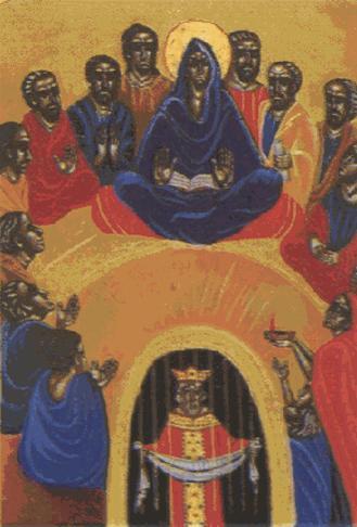 María y los discípulos esperan en oración la venida del Espíritu Santo