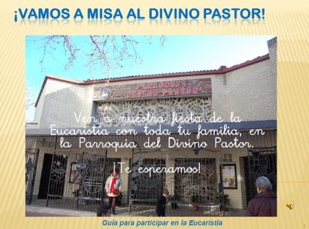 """Portada de la Guía para participar en la eucaristía: """"Vamos a misa al Divino Pastor"""""""