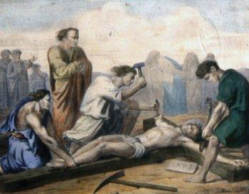 11 estacion Jesús es clavado en la cruz