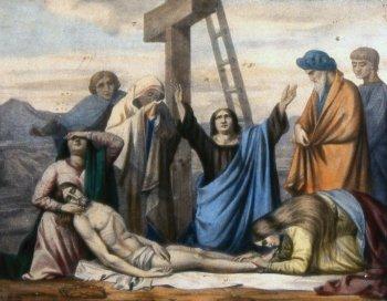 13 estacion Jesús es bajado de la cruz y entregado a su Madre