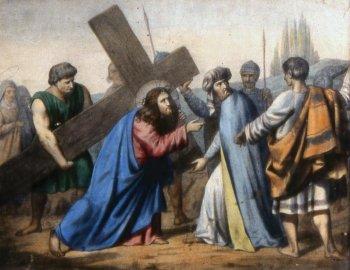 5 estacion El Cirineo ayuda a Jesús a llevar la cruz