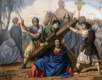 9 estacion Jesús cae por tercera vez bajo el peso de la cruz