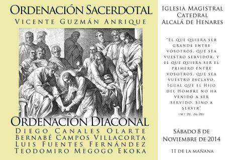 Ordenaciones en la Catedral de Alcalá de Henares, sábado 8 de noviembre de 2014 a las 11 de la mañana, ordenación diaconal de Teodomiro Megogo Ekoka